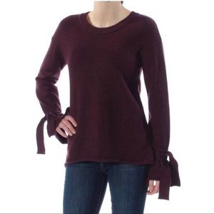 Bar III | Tie-Sleeve Hi-Low Sweater Maroon Small